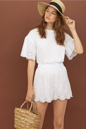 Top with broderie anglaise - White - Ladies | H&M GB