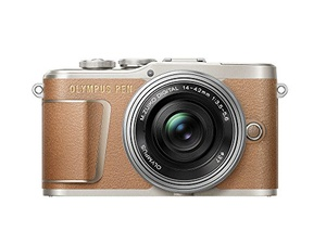 Olympus PEN E-PL9 16 MP Compact System Camera with Electric Zoom, 4K Movies, 3-Inch Display, Wi-Fi and 14 - 42 mm Pancake Lens - Brown/Silver
