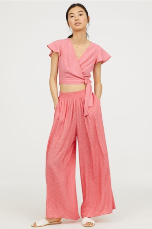 Wide trousers - Raspberry pink/Spotted - Ladies | H&M GB